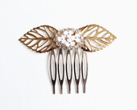 Gold,Leaves,Rhinestones,Hair,Comb,gold hair comb, bridesmaid hair comb, gold leaves hair comb, gold leaf hair comb, gold rhinestone hair comb, large leaf hair comb
