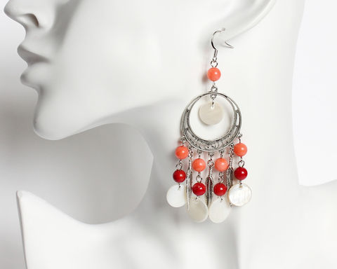 Bohemian,Style,Red,Coral,and,Shell,Flakes,Long,Earrings,coral earrings, shell earrings, bohemian silver earrings, white red earrings, white shell earrings, red coral earrings
