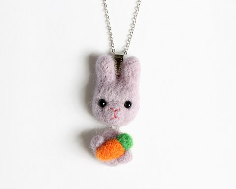 Needle,Felted,Wool,Lavender,Purple,Bunny,necklace,or,brooch,ring,shawl,pin,(Made,to,order),purple bunny necklace, purple rabbit necklace, lavender bunny, lavender rabbit, rabbit brooch, bunny brooch, rabbit ring, bunny ring