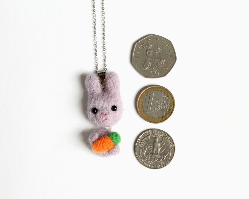 Needle Felted Wool Lavender Purple Bunny necklace or brooch or ring or shawl pin (Made to order) - product images  of