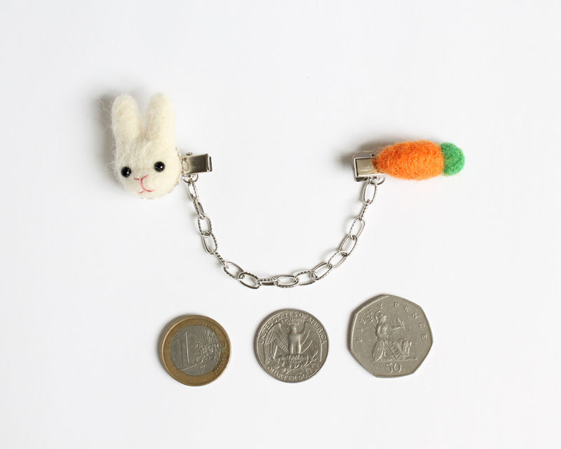 Needle Felted Bunny and Carrot Sweater Guard Clips - product images  of