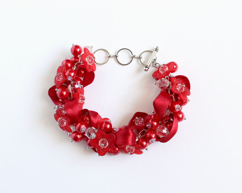 Red Flower Bridesmaid Cluster Bracelet and Earrings set - product images  of