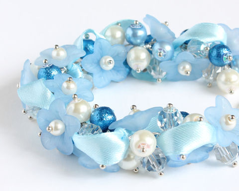 Sky,Blue,Flower,Cluster,Bracelet,and,Earrings,Set,sky blue bracelet, sky blue pearl bracelet, sky blue cluster bracelet, sky blue bridesmaid bracelet, blue white pearl bracelet, blue flower bracelet, baby blue bracelet, baby blue bridesmaid jewelry, blue bridesmaid bracelet earrings set