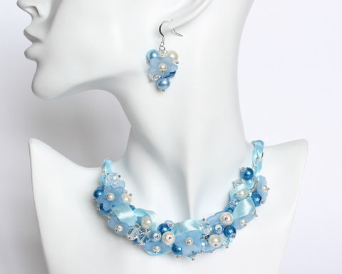 Sky,Blue,Flower,Cluster,Necklace,and,Earrings,Set,sky blue necklace, sky blue cluster necklace, sky blue pearl necklace, sky blue bridesmaid necklace, baby blue necklace, baby blue cluster necklace, baby blue bridesmaid jewelry, blue white necklace, blue white bridesmaid jewelry
