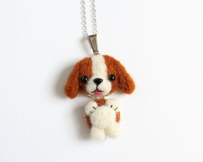 Needle Felted Beagle Dog necklace or brooch or ring or shawl pin - product images  of