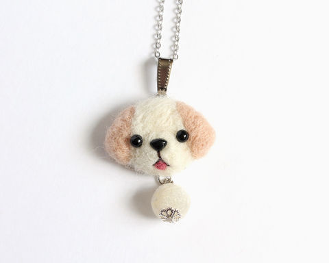 Needle Felted Labrador necklace or brooch or ring or shawl pin - product images  of