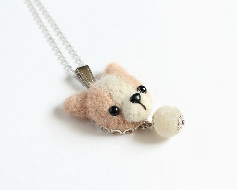 Needle Felted Chihuahua necklace or brooch or ring or shawl pin - product images  of