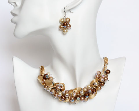 Brown,Khaki,Cluster,Necklace,and,Earrings,brown pearl necklace, pearl cluster necklace, light brown pearl necklace, bridesmaid necklace, brown bridesmaid necklace, bronze pearl necklace, bronze cluster bracelet, golden brown necklace, brown tan necklace