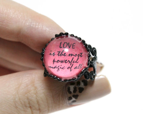 Love,power,ring,(OUAT),once upon a time, once upon a time ring, love ring, love power ring, ouat ring, ouat black ring, ouat quotes ring, ouat quotes jewelry, powerful magic ring