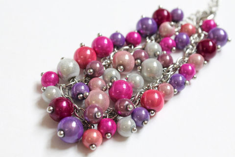 Pink,Purple,White,Bracelet,pink purple white bracelet, beaded bracelet, sheening bead bracelet, purple pink white bracelet, pink purple cluster bracelet, miracle bead bracelet
