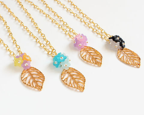 Gold Leaf and Mini Flowers Long Necklace - product images  of