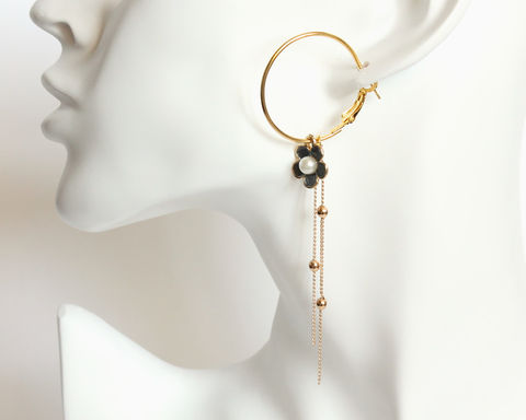 Gold,Hoop,Earrings,with,Mini,Flower,and,long,tassel,gold hoop earring, hoop and tassel earring, hoop tassel earrings, gold hoop flower earring, hoop flower tassel earring, long tassel hoop earring, gold tone earrings