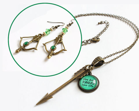 Arrow,Necklace,and,Earring,(Arrow),the arrow necklace, the arrow earrings, bronze arrow necklace, bronze arrow earrings, arrow tv series, oliver queen necklace, oliver queen jewelry, green arrow earrings, you have failed this city jewelry, you have failed this city necklace