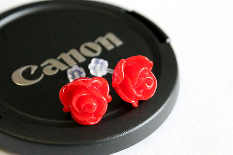 Rose Earring Studs with Plastic Post - product images  of