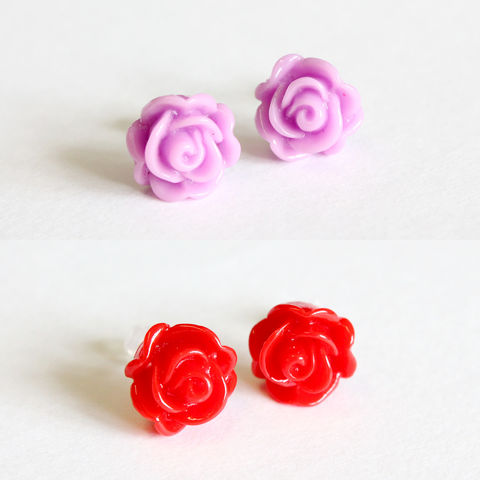 Rose,Earring,Studs,with,Plastic,Post,stud earring, rose stud earrings, flower stud earrings, red rose earring, pink rose earrings, red flower earrings, pink flower earrings, plastic stud earrings