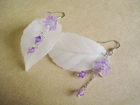 Large,White,Leaf,with,Purple,Flower,and,Dangles,Earrings,white leaf earrings, leaf flower earrings, white purple earrings, white leaf flower earrings, matte white leaf earrings