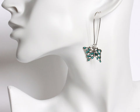 Turquoise Butterfly Earrings with Swarovski Crystals on Kidney Ear Wire - product images  of