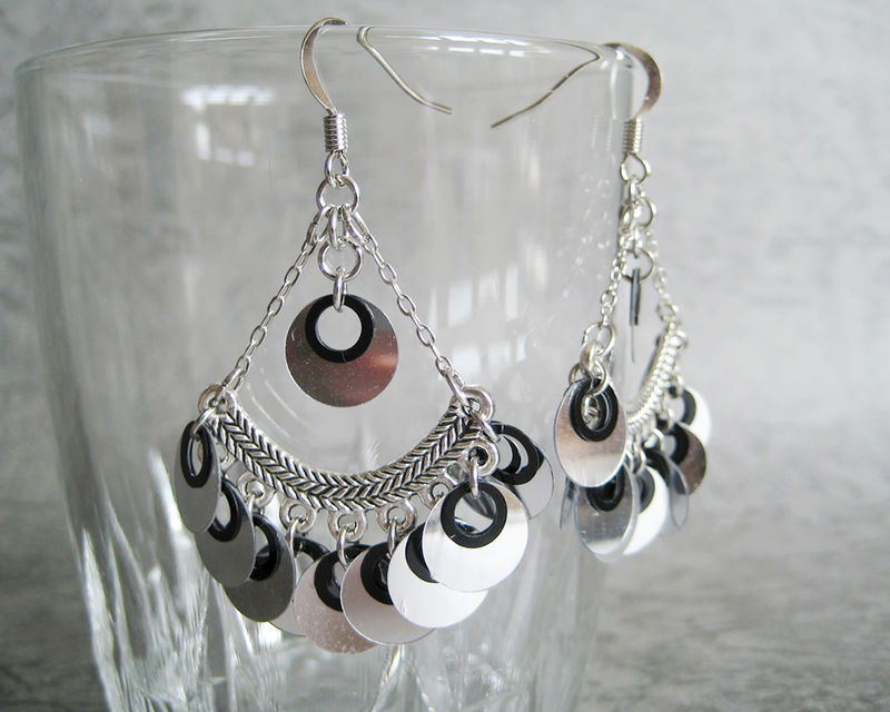 Shiny Silver Sequins Chandelier Earrings - product images  of
