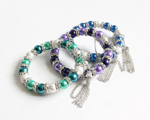 Memory Wire Bangle Bracelet with rhinestone (Blue/Violet/Turquoise) - product images  of