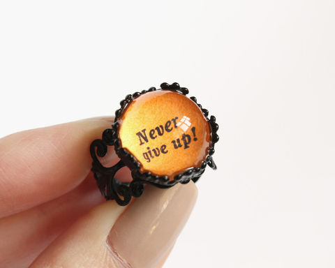 Never,give,up,ring,never give up ring, quotes ring, orange ring, black ring, orange black ring, black orange ring, motto ring, colorful ring