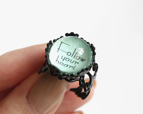 Follow,your,heart,ring,follow your heart ring, black ring, black blue ring, baby blue ring, powder blue ring, quotes ring, motto ring, text ring
