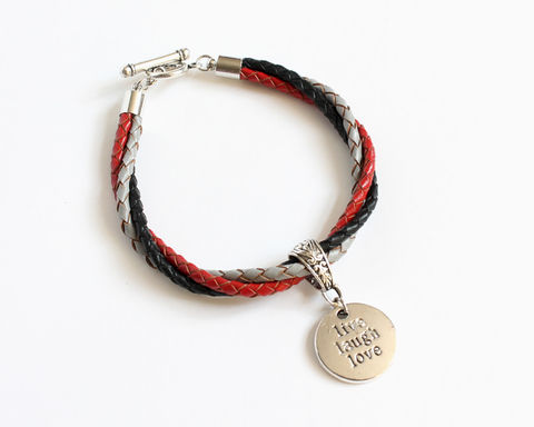 Live,Laugh,Love,Leather,Charm,Bracelet,leather bracelet, bolo leather bracelet, live laugh love bracelet, charm leather bracelet, 3 color leather bracelet, tricolor bracelet, black gray red bracelet, red black gray bracelet, black red leather bracelet