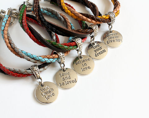Never Give Up Leather Charm Bracelet - product images  of