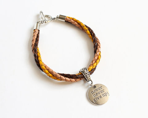 Never,Give,Up,Leather,Charm,Bracelet,leather bracelet, bolo leather bracelet, never give up bracelet, charm leather bracelet, 3 color leather bracelet, tricolor bracelet, yellow brown leather bracelet, yellow brown bracelet, brown yellow bracelet