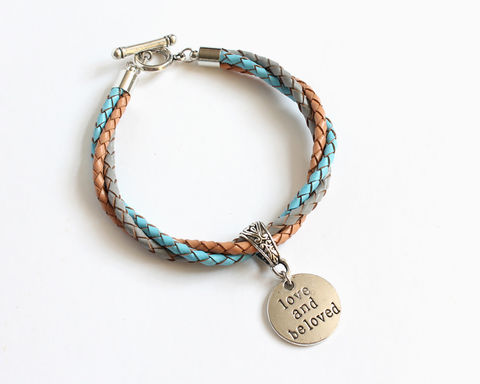 Love,and,Beloved,Leather,Charm,Bracelet,leather bracelet, bolo leather bracelet, love and beloved bracelet, charm leather bracelet, 3 color leather bracelet, tricolor bracelet, blue gray brown bracelet, blue gray brown leather bracelet, blue gray bracelet, blue brown bracelet