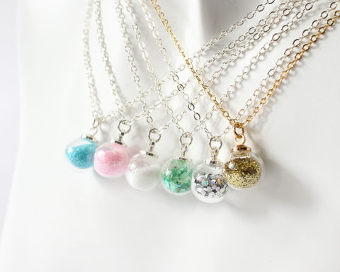 Mini,glass,globe,with,glitter,necklace,mini glass globe necklace, tiny glass globe necklace, small glass globe necklace, glitter glass globe necklace, silver glitter glass necklace, gold glitter glass necklace, small globe necklace with glitter