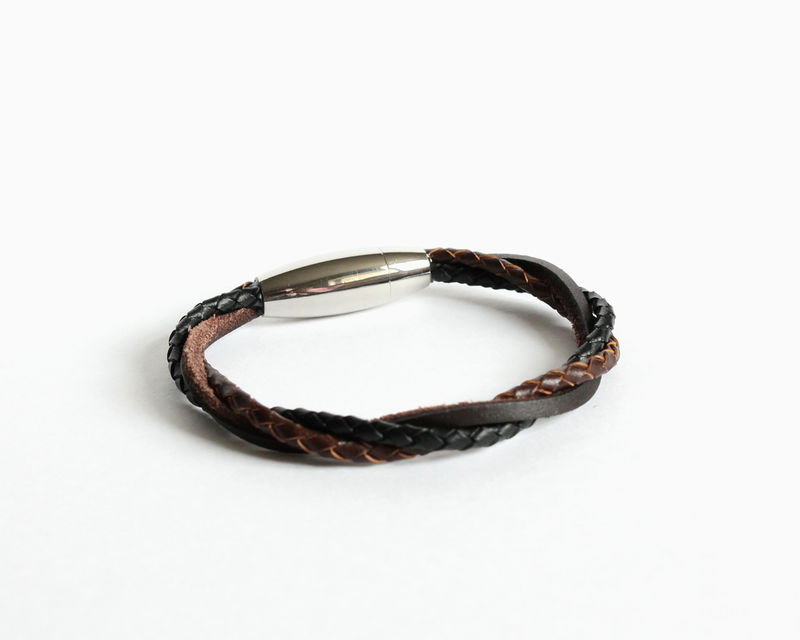 Braided Leather Bracelet with Magnetic Clasp (Custom Colors) - product images  of