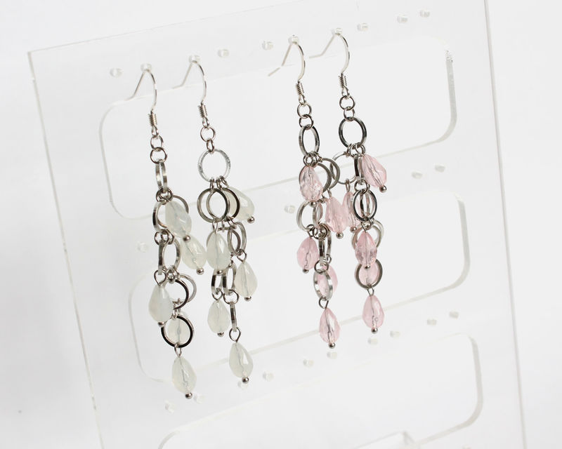 Mini silver hoops with teardrop white or pink beads earrings - product images  of