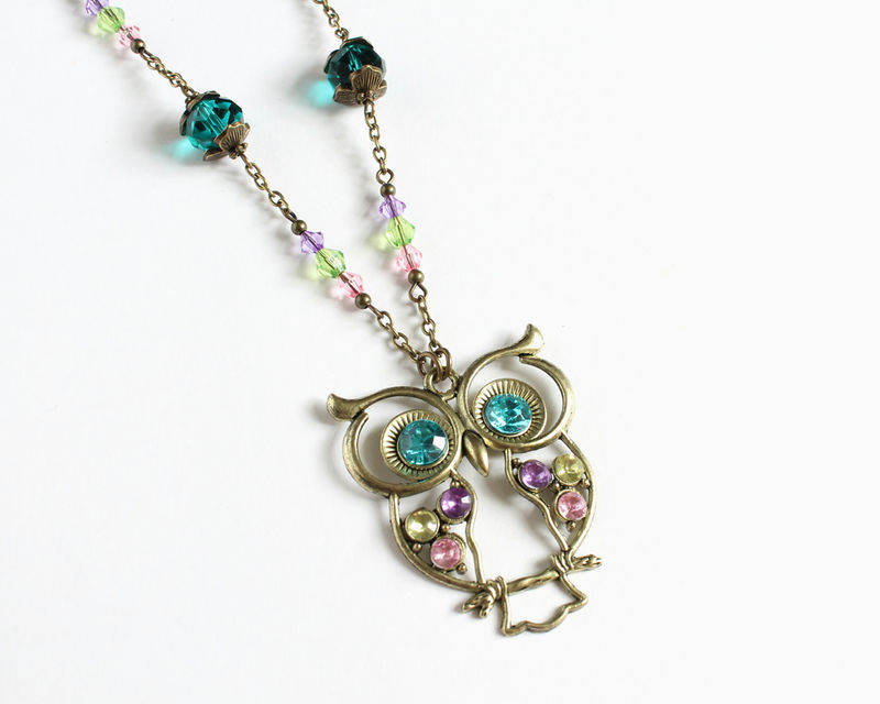 Large Owl Turquoise Long Necklace - product images  of