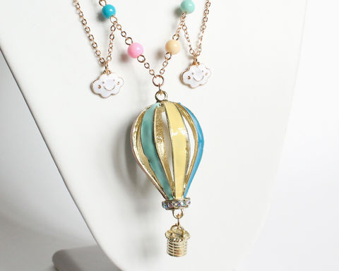 Hot,Air,Balloon,Long,Necklace,(Clearance,,last,one),hot air balloon necklace, hot air balloon long necklace, large hot air balloon necklace, gold hot air balloon necklace, balloon cloud necklace, hot air balloon cloud necklace