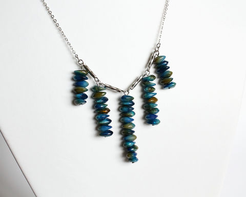 Ocean Blue 5 Dangle Beads Necklace - product images  of