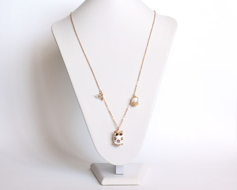 Small Owl Long Necklace (Black or White) - product images  of