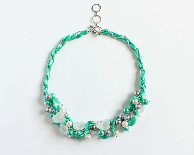 Turquoise Gray White Cluster Necklace and Earrings Set - product images  of