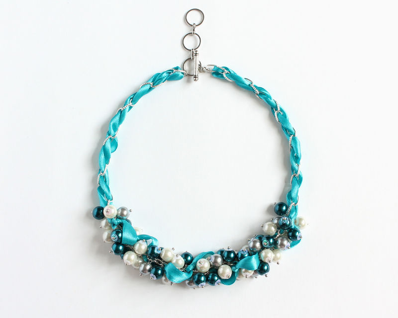Cerulean Blue Cluster Necklace and Earrings Set - product images  of