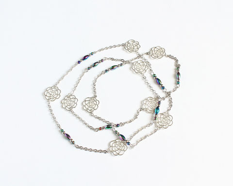 Silver Roses Long Necklace - product images  of