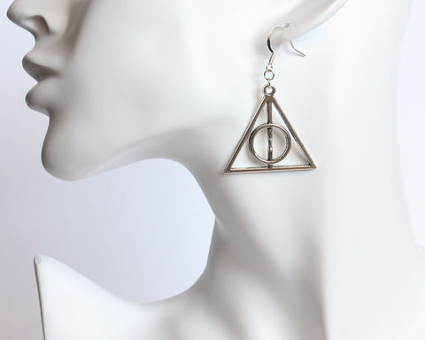 Deathly,Symbol,Earrings,deathly hallows earrings, harry potter, silver deathly hallows, xenophilius lovegood, luna earrings, harry potter earrings