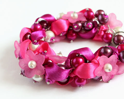 Hot,Pink,Dark,Magenta,Flower,Bridesmaid,Cluster,Bracelet,and,Earrings,Set,(Made,to,Order),hot pink cluster necklace, hot pink flower necklace, hot pink bridesmaid jewelry, hot pink bridesmaid necklace, magenta pink bridesmaid jewelry, pink flower bridesmaid jewelry, pink magenta white jewelry set