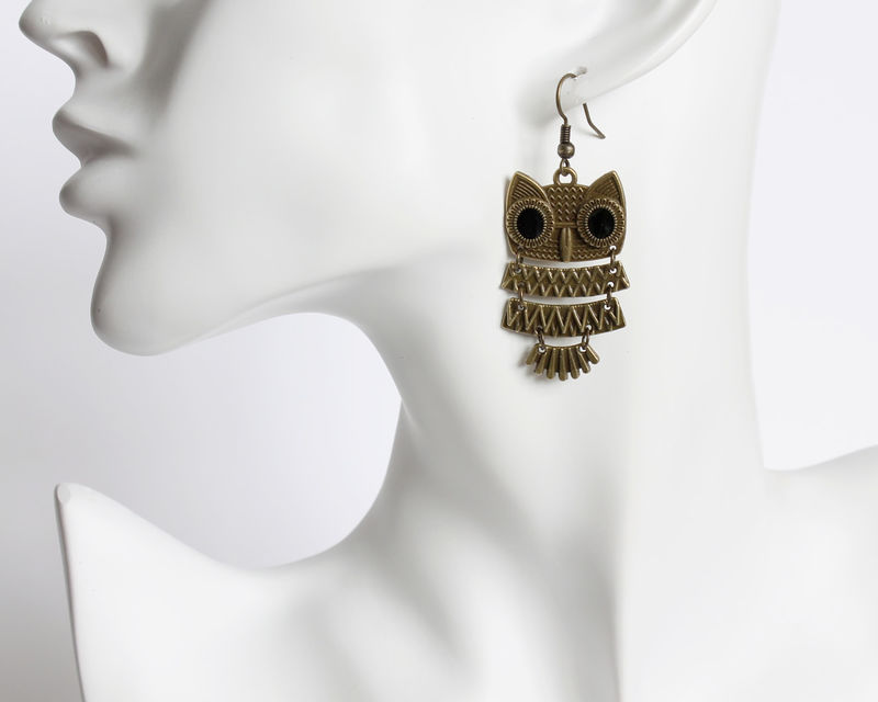 Layered Owl Bronze Earrings - product images  of