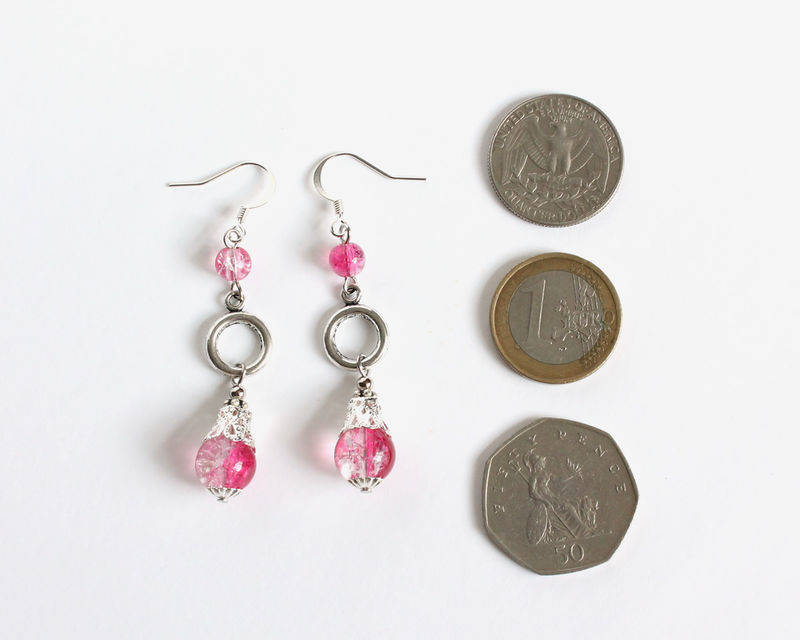 Hot Pink Crackle Bead 3-level Dangle Earrings - product images  of