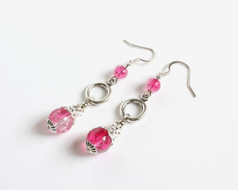 Hot,Pink,Crackle,Bead,3-level,Dangle,Earrings,hot pink dangle earrings, hot pink crackle bead earrings, 3 level dangle earrings, 3 balls earrings, long pink earrings, pink long earrings, long dangle earrings