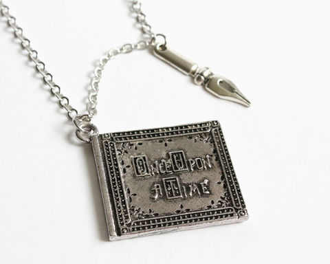 Once,Upon,A,Time,Book,and,Author's,Pen,Long,Necklace,(OUAT),once upon a time book necklace, once upon a time storybook necklace, ouat book necklace, ouat henry book necklace, henry storybook necklace, book pen necklace, book quil necklace, ouat author, once upon a time author