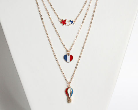 Layered,necklace,set,(blue,,red,and,white,on,stars,,heart,hot,air,balloon,pendants),layered necklace, gold layered necklace set, layering necklace set, stacking necklace set, blue red white necklace, gold necklace, star necklace, heart necklace, hot air balloon necklace, short gold necklace, gold pendant necklace