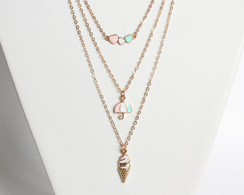 Layered,necklace,set,(pastel,blue,,pink,and,white,on,hearts,,umbrella,ice,cream,pendants),layered necklace, gold layered necklace set, layering necklace set, stacking necklace set, pastel color necklace, pastel theme necklace, gold necklace, heart necklace, umbrella necklace, ice cream necklace, short gold necklace, gold pendant necklace