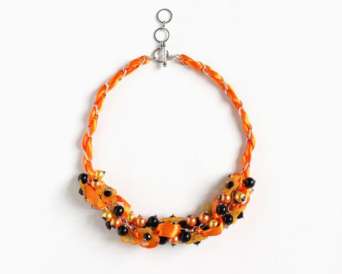 Halloween Orange Flower Cluster Necklace and Earrings Set - product images  of