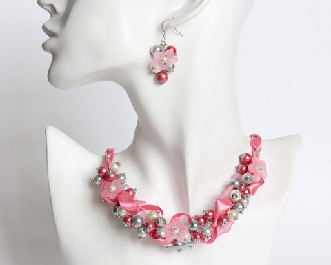 Pink,Gray,White,Flower,Cluster,Necklace,and,Earrings,Set,pink gray white necklace, pink cluster necklace, pink jewelry set, pink ribbon necklace, pink pearl cluster necklace, pink white gray necklace, pink flower necklace, pink flower ribbon necklace