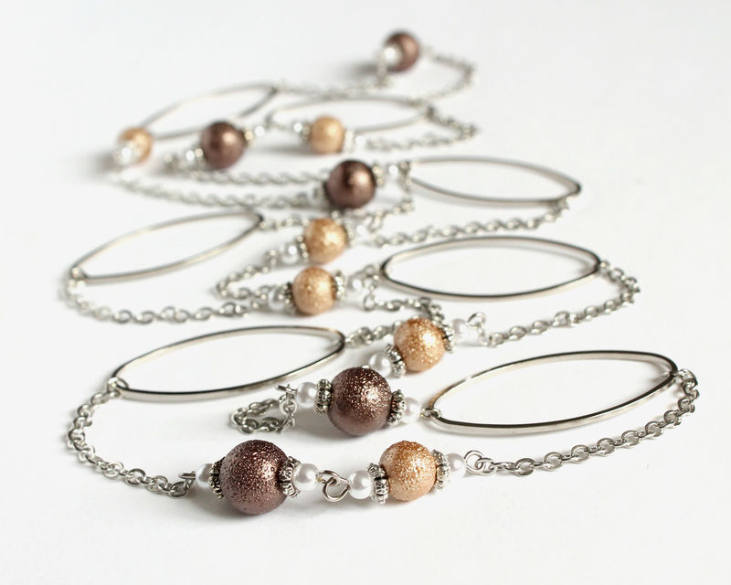 Silver hoop and textured brown beads extra long necklace / double necklace - product images  of